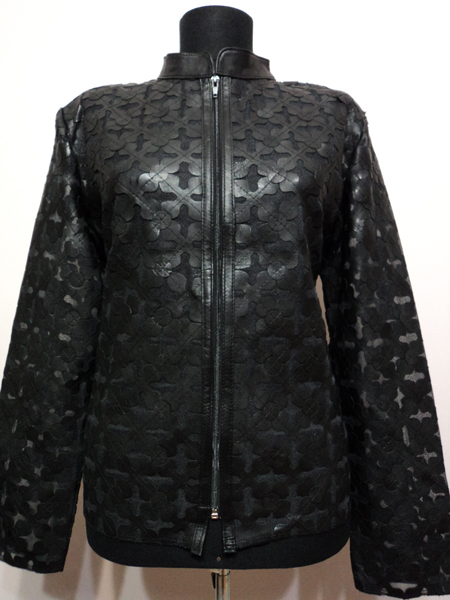 Plus Size Black Leather Leaf Jacket Women Design Genuine Short Zip Up Light Lightweight