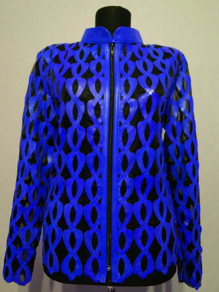 Plus Size Blue Leather Leaf Jacket for Women Design 05 Genuine Short Zip Up Light Lightweight [ Click to See Photos ]