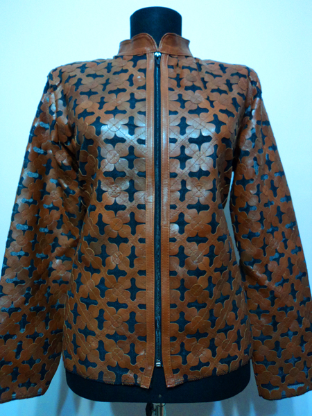 Plus Size Brown Leather Leaf Jacket for Women Design 06 Genuine Short Zip Up Light Lightweight [ Click to See Photos ]