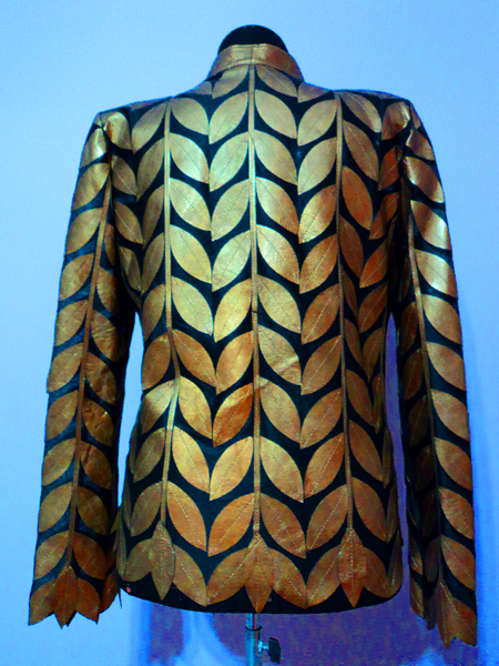 Plus Size Gold Leather Leaf Jacket for Women Design 04 Genuine Short Zip Up Light Lightweight