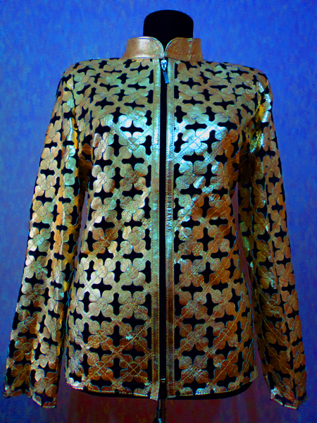 Plus Size Gold Leather Leaf Jacket Women Design Genuine Short Zip Up Light Lightweight