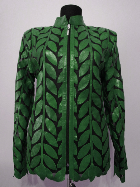 Plus Size Green Leather Leaf Jacket for Women Design 04 Genuine Short Zip Up Light Lightweight [ Click to See Photos ]