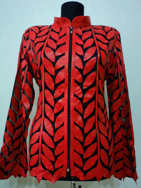 Plus Size Red Leather Leaf Jacket for Women Design 04 Genuine Short Zip Up Light Lightweight [ Click to See Photos ]