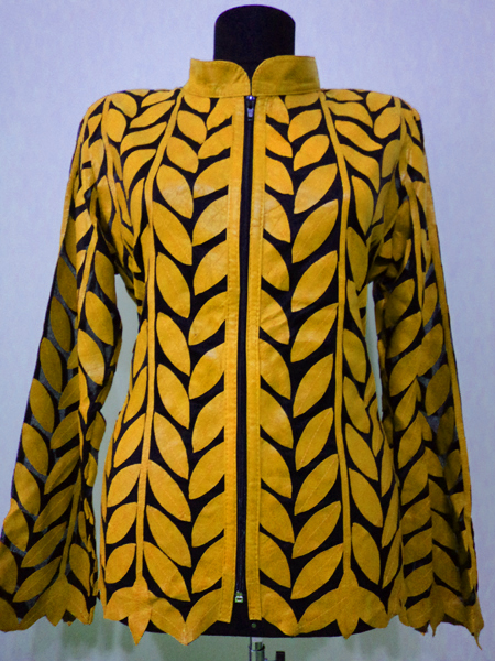 Plus Size Yellow Leather Leaf Jacket for Women Design 04 Genuine Short Zip Up Light Lightweight [ Click to See Photos ]