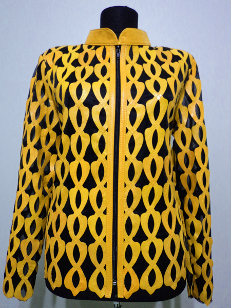 Plus Size Yellow Leather Leaf Jacket for Women Design 05 Genuine Short Zip Up Light Lightweight [ Click to See Photos ]