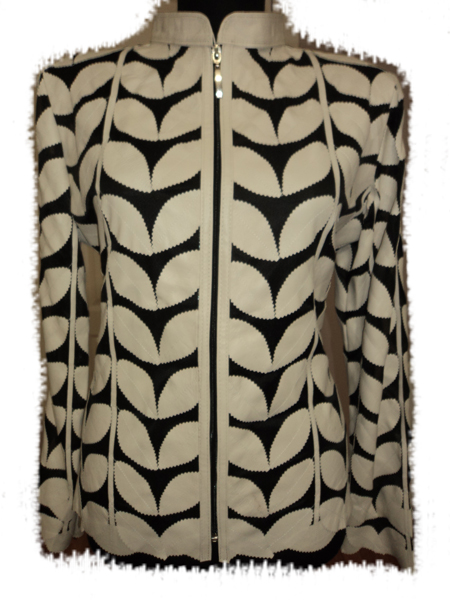 Plus Size Beige Leather Leaf Jacket for Women