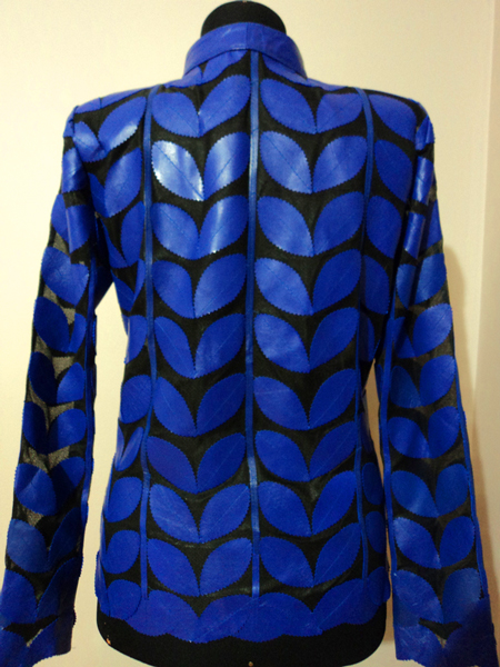 Plus Size Blue Leather Leaf Jacket for Women